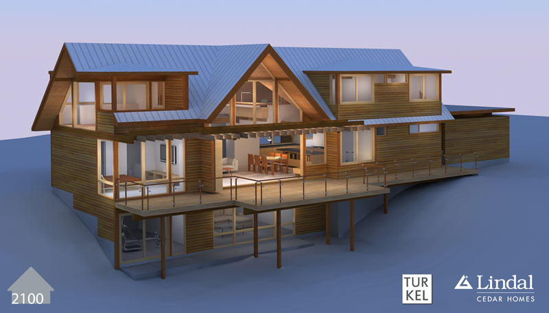 Bold modern turkel design lindals lindal cedar homes for Modern cedar homes